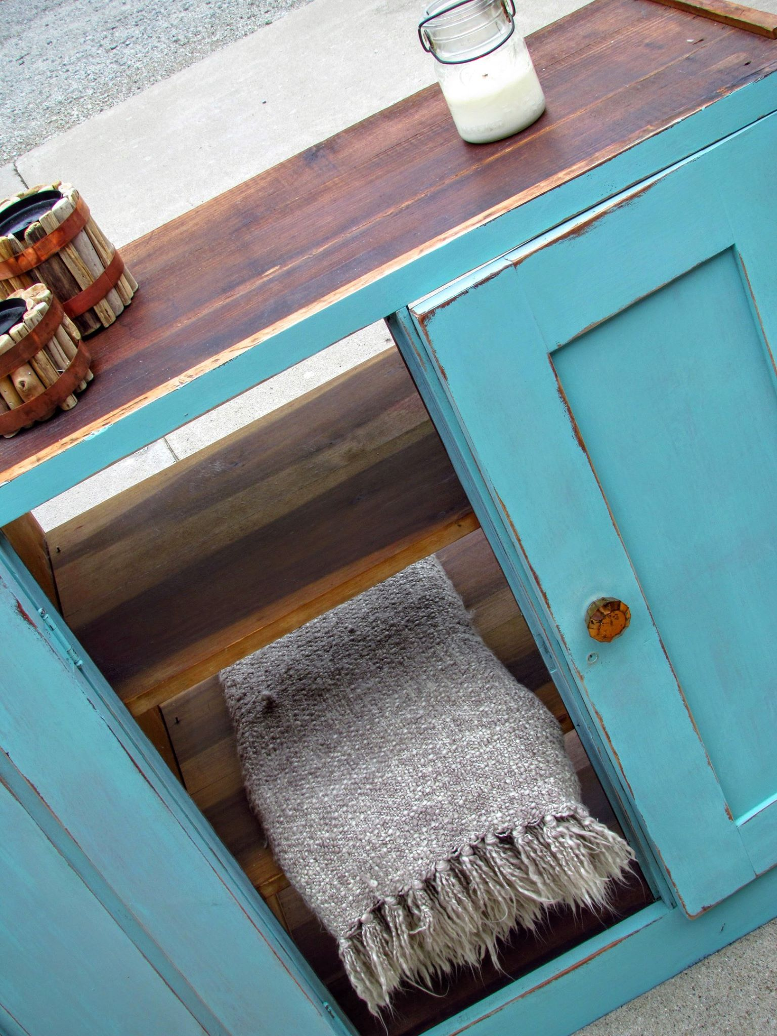 DIY Distressed Teal Cabinet   Rustic Refined RePete